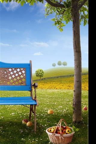 iPhone Wallpaper Blue bench, apples, basket, tree, green grass