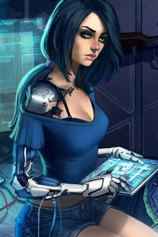 iPhone Wallpaper Blue hair girl, science, computer, art picture