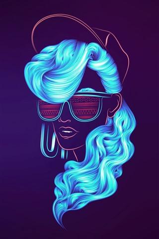 iPhone Wallpaper Blue hair girl, sunglass, cap, creative picture