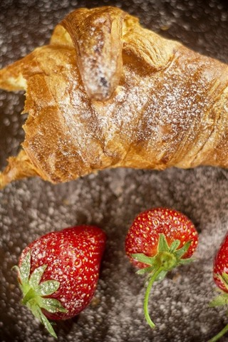iPhone Wallpaper Bread and strawberry, food