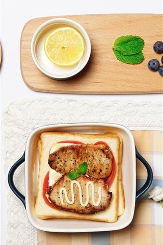 iPhone Wallpaper Breakfast, bread, meat, oatmeal, white roses