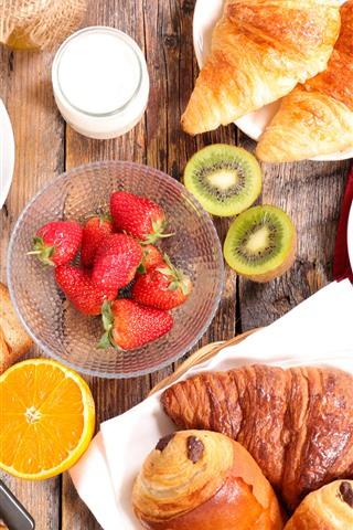 iPhone Papéis de Parede Café da manhã, pão, morango, café, kiwi