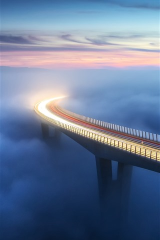 iPhone Wallpaper Bridge, fog, clouds, light lines, height, morning
