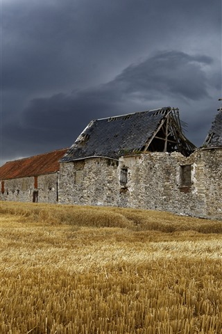 iPhone Wallpaper Broken house, fields, clouds