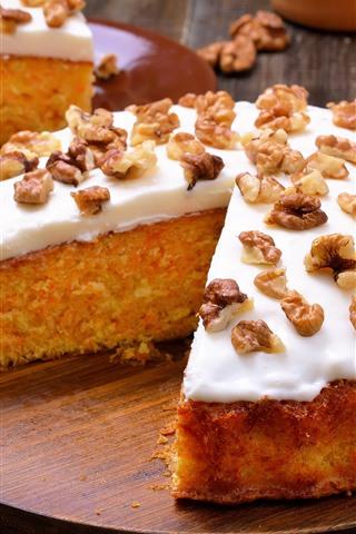 iPhone Wallpaper Cake, cream, nuts, carrot