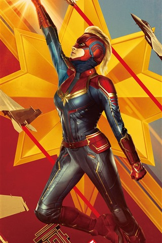 iPhone Wallpaper Captain Marvel, 2019 movie