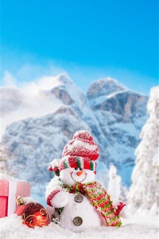 iPhone Wallpaper Christmas, snowmen, snow, trees, mountains, winter