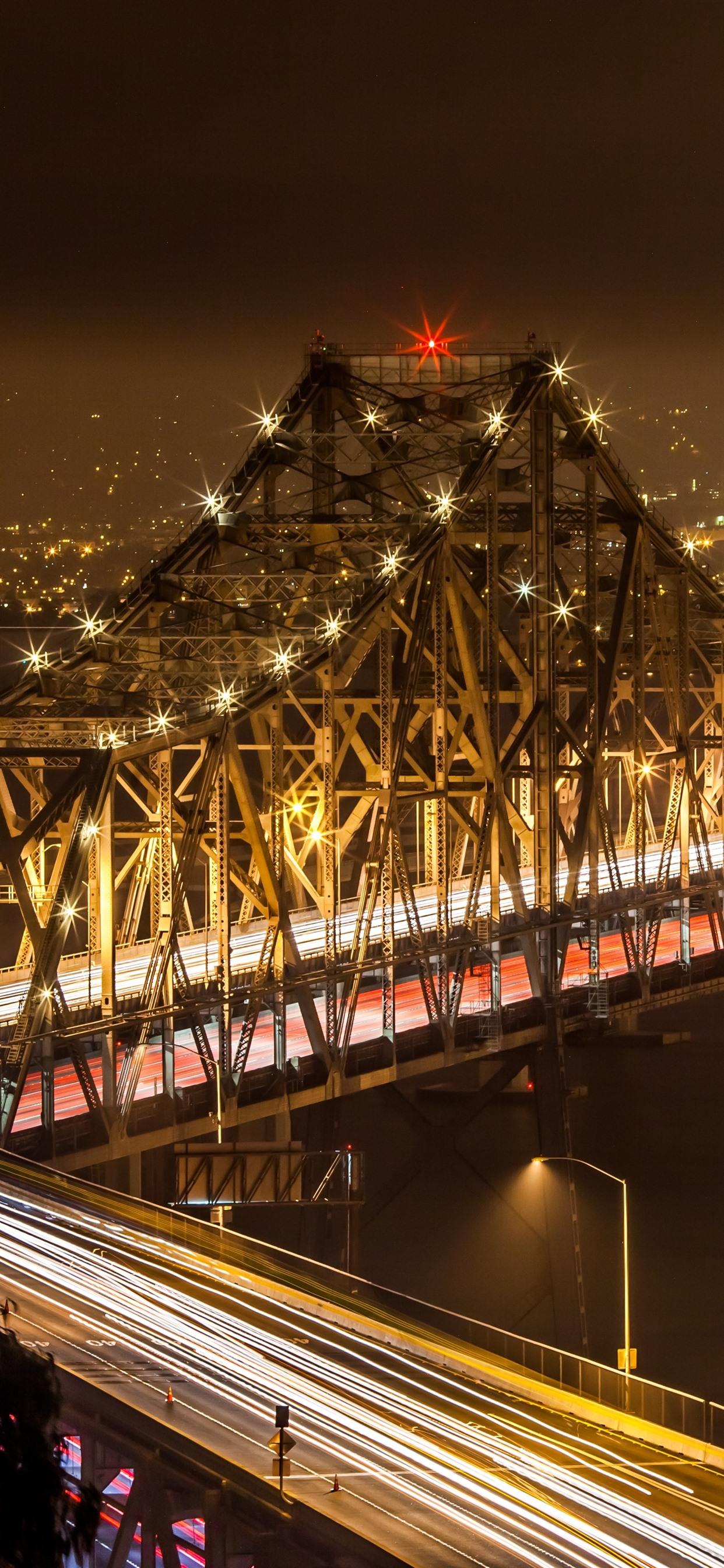 都市 橋 イルミネーション 夜 1242x2688 Iphone 11 Pro Xs Max 壁紙