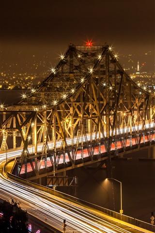 iPhone Wallpaper City, bridge, illumination, night