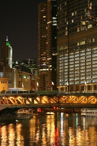 iPhone Wallpaper City, night, buildings, river, bridge, lights