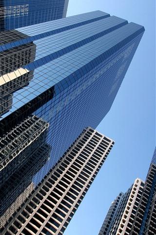 iPhone Wallpaper City, skyscrapers, glasswall