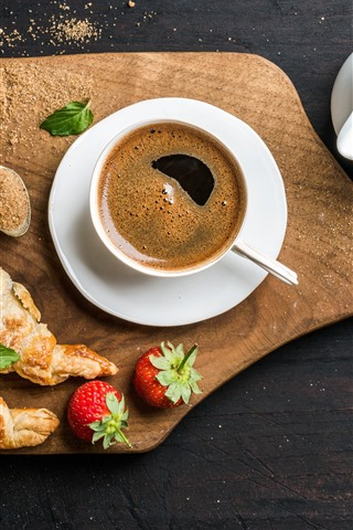 iPhone Wallpaper Coffee, croissants, bread, milk, honey, strawberry