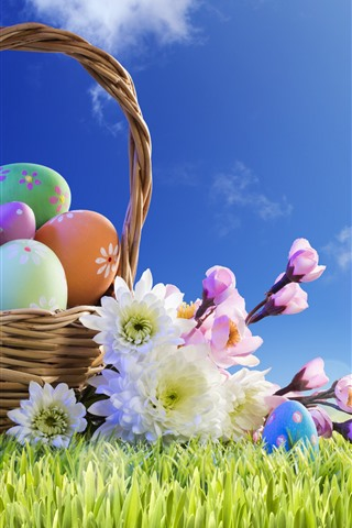 iPhone Wallpaper Colorful eggs, basket, grass, flowers, blue sky, sunshine, Easter