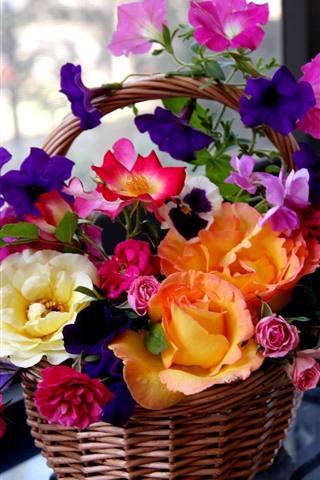 iPhone Wallpaper Colorful flowers, basket, windows