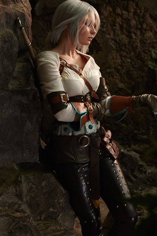 iPhone Wallpaper Cosplay girl, sword, The Witcher 3: Wild Hunt
