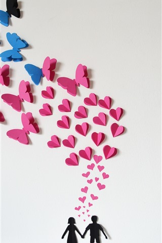 iPhone Wallpaper Couple, love hearts, butterfly, romantic