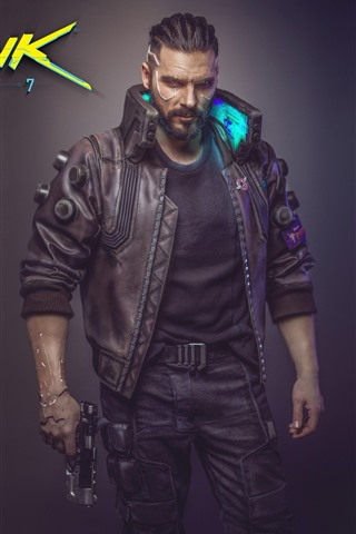 iPhone Wallpaper Cyberpunk 2077, man, gun