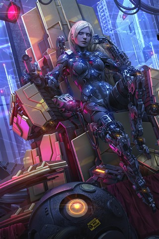 iPhone Papéis de Parede Cyberpunk, garota cyborg, arranha-céus, arte de fantasia