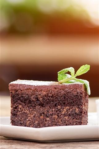 iPhone Wallpaper Dessert, one slice chocolate cake, mint