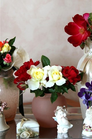 iPhone Wallpaper Different flowers, vase, still life
