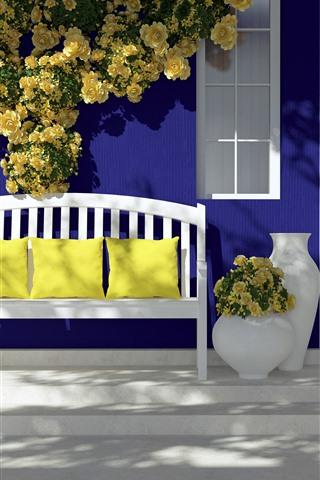 iPhone Wallpaper Door, bench, pillow, yellow roses, sunlight