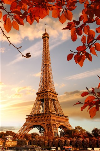 iPhone Wallpaper Eiffel Tower, red leaves, twigs, autumn