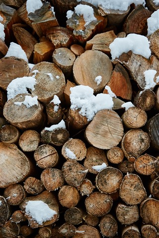 iPhone Wallpaper Firewood, wood, snow