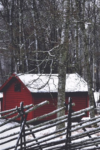 iPhone Wallpaper Forest, trees, hut, snow, winter