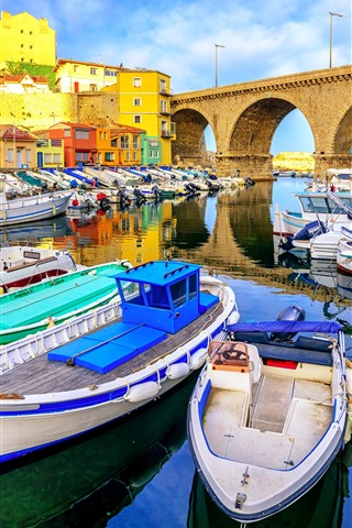 iPhone Wallpaper France, Marseille, boats, coast, bridge