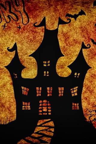 iPhone Wallpaper Halloween, castle, spider, bat, trees, silhouette