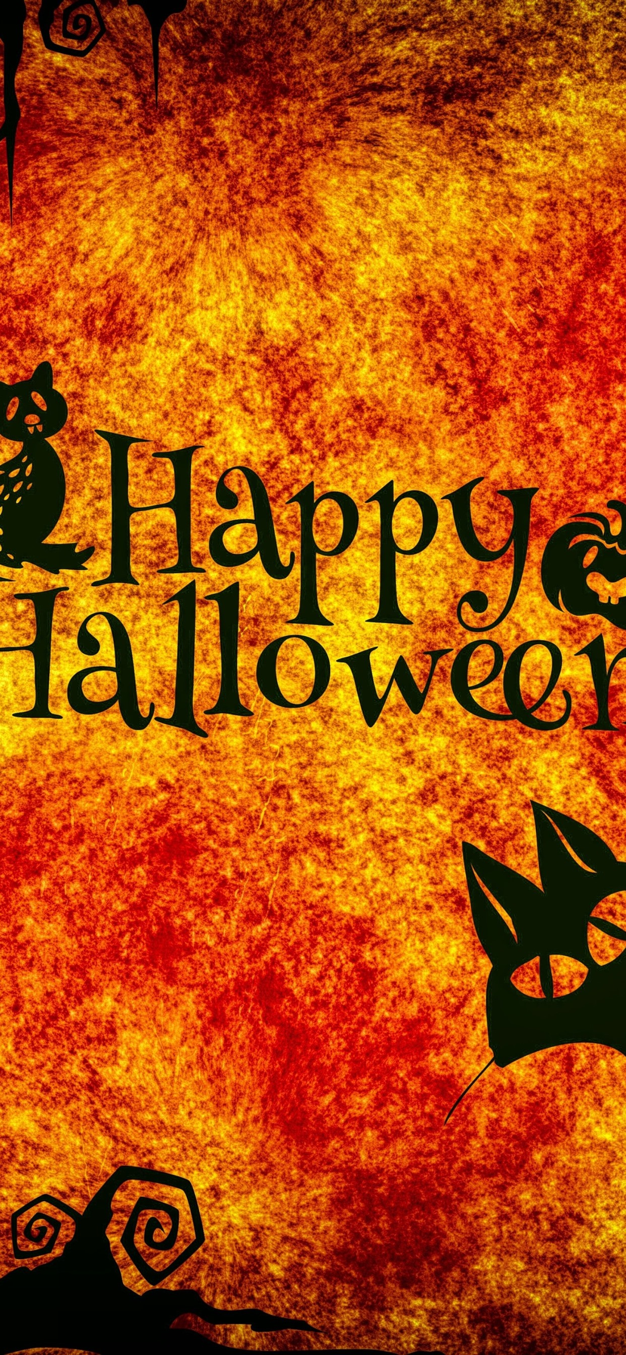Happy Halloween Night Cats Owl Spider Pumpkin 1242x2688