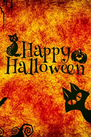 iPhone Wallpaper Happy Halloween, night, cats, owl, spider, pumpkin
