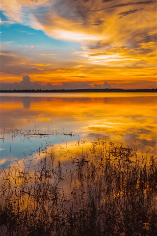 iPhone Wallpaper Lake, grass, sunset, clouds, water reflection