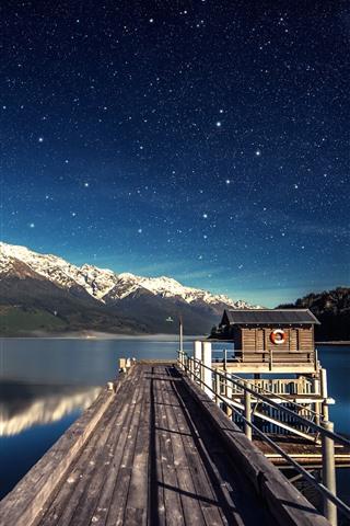 iPhone Wallpaper Lake, pier, hut, mountains, sky, stars