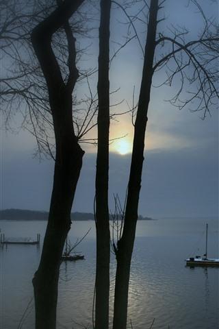 iPhone Wallpaper Lake, pier, trees, sunrise, fog, morning