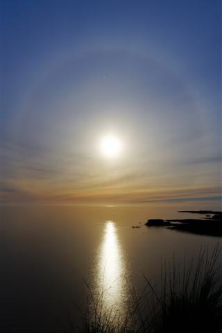 iPhone Wallpaper Lake, sun, sunset, water
