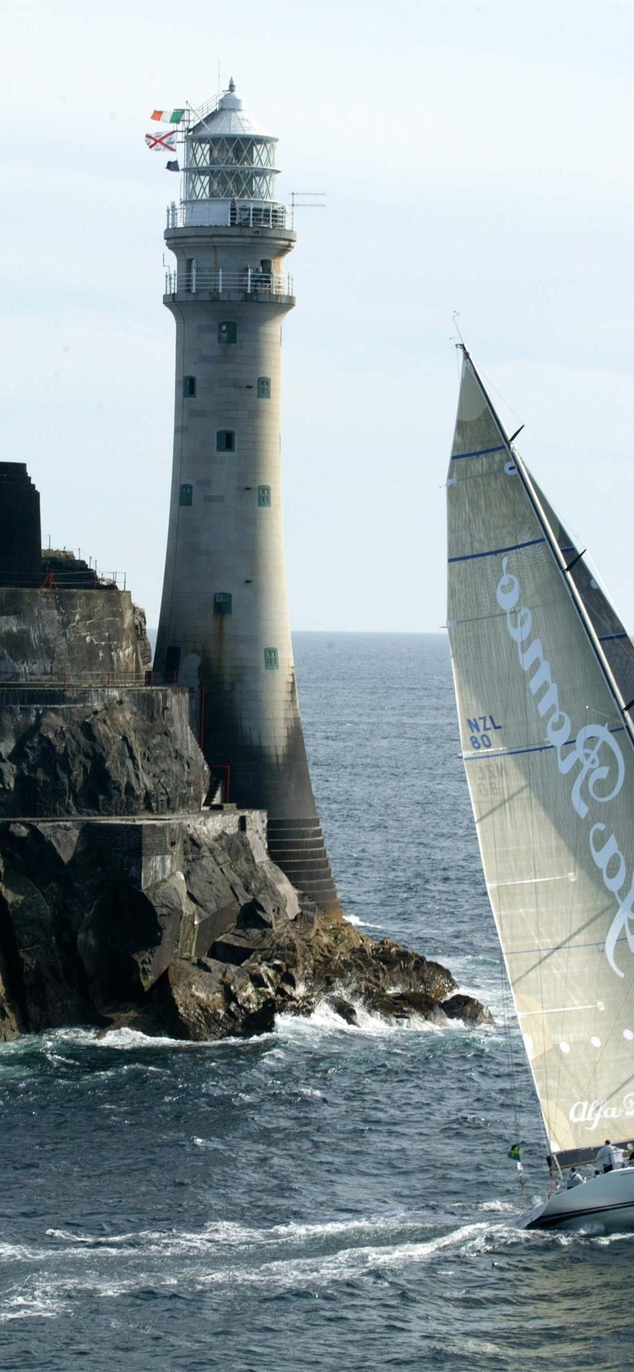 Lighthouse Sailing Sea 1242x2688 Iphone Xs Max Wallpaper