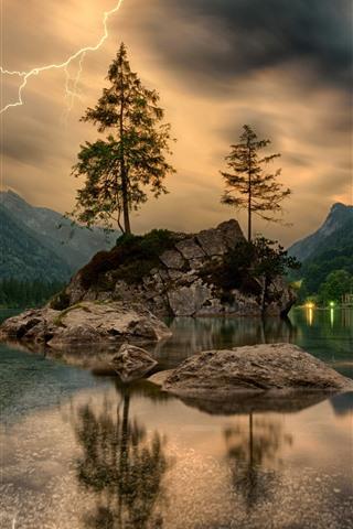 iPhone Wallpaper Lightning, trees, lake, stones, mountains, houses, lights
