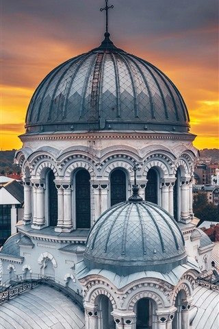 iPhone Wallpaper Lithuania, Kaunas, cathedral, city, dusk