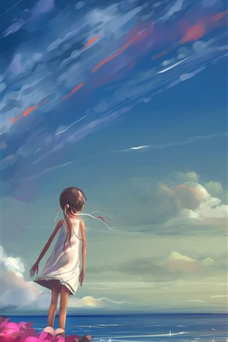 iPhone Wallpaper Little girl, sea, sky, kite, anime