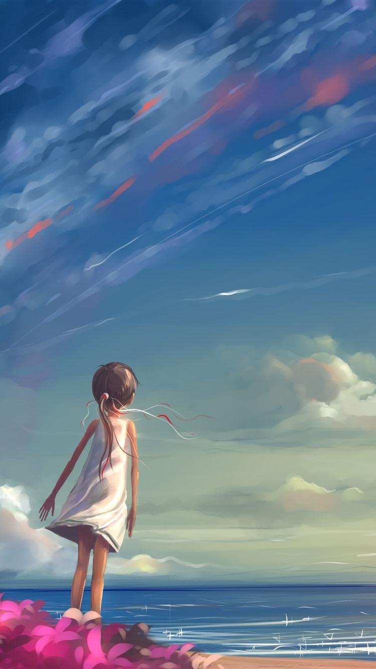 Wallpaper Little Girl Sea Sky Kite Anime 3840x2160 Uhd