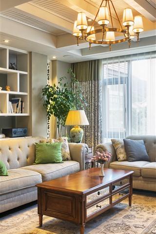 iPhone Wallpaper Living room, sofa, pillow, lamps