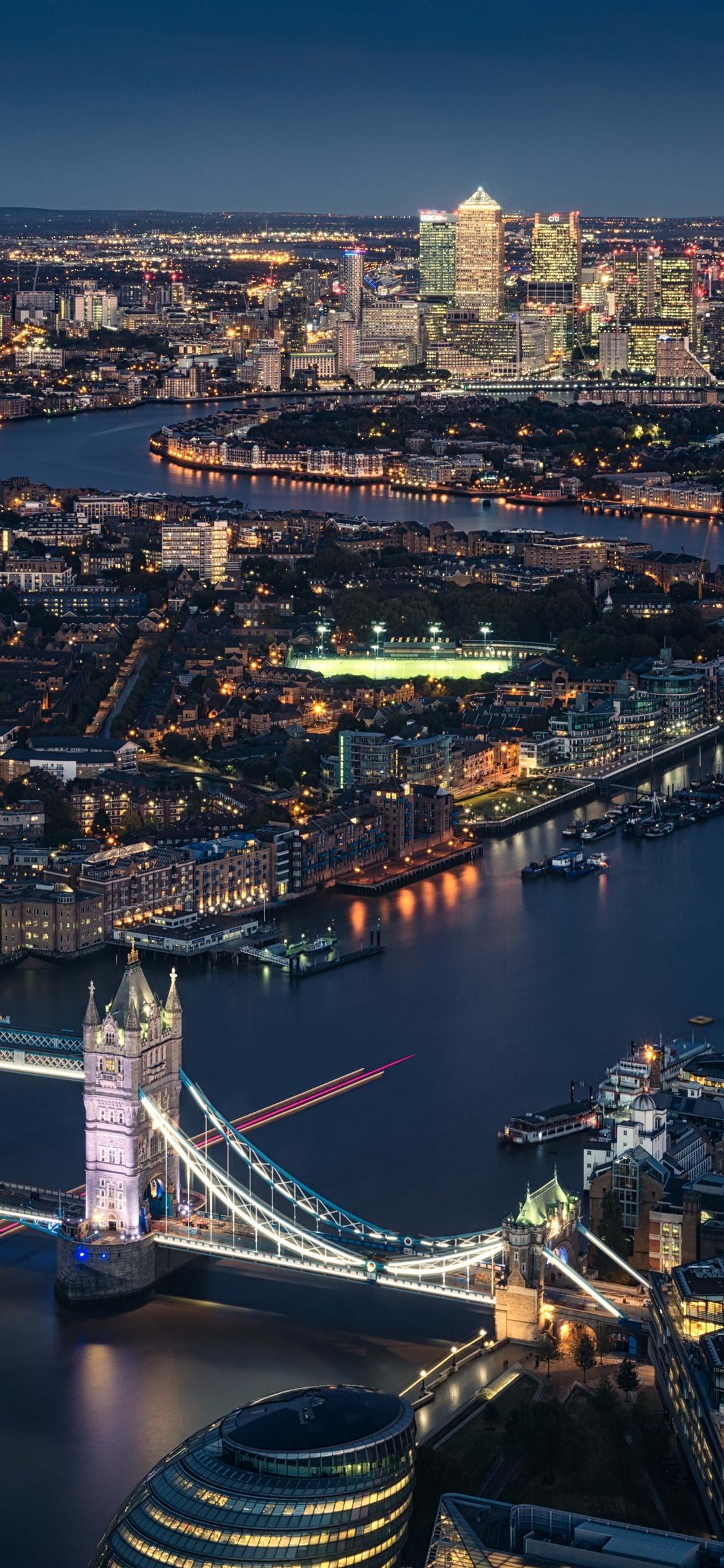 London England Thames River Tower Bridge City Night