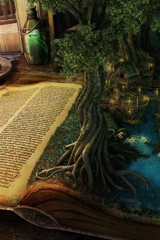 iPhone Wallpaper Magic book, trees, lake, houses, candle, creative