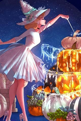 iPhone Wallpaper Magic girl, pumpkin, anime