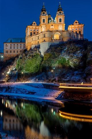 iPhone Wallpaper Melk Abbey, Austria, river, trees, snow, night, lights