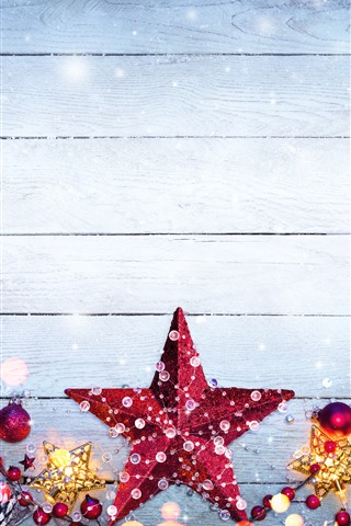 iPhone Wallpaper Merry Christmas, stars, berries, snowflake, decoration