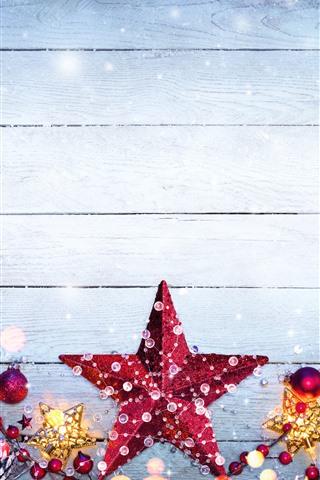 iPhone Papéis de Parede Feliz Natal, estrelas, bagas, floco de neve, decoração