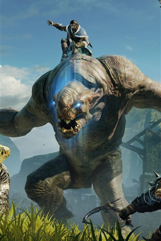iPhone Wallpaper Middle-earth: Shadow of Mordor, monster, war