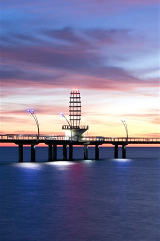 iPhone Wallpaper Morning, lighthouse, dock, sea, lights, clouds